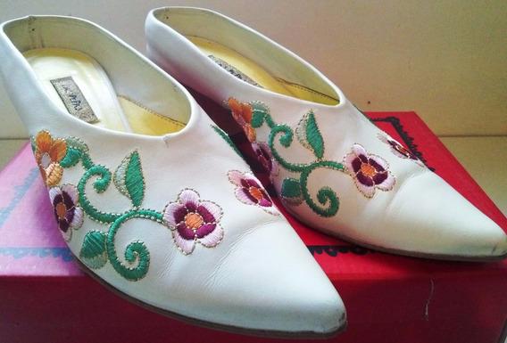 Zapatos/suecos-las Pepas-cuero Blanco Bordado. Liquido Ya!!!