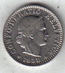 Suiza Moneda De 20 Rappen Año 1938 !!!!!!!!!