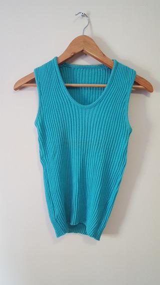 Blusa Regata Feminina Azul De Linha