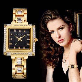 Elegante Designer Relógios Montre Femme Quadrado Senhoras Pu