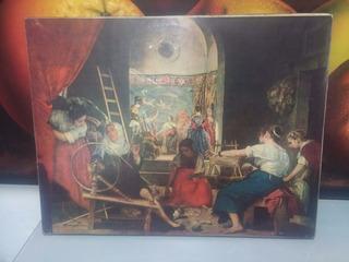 Cuadro Antiguo Frances De Postal Sobre Lienzo