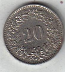 Suiza Moneda De 20 Rappen Año 1962 !!!