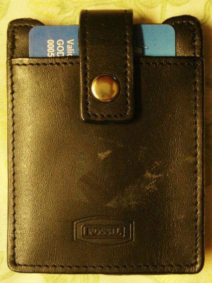Fossil Portatarjetas / Billetera En Cuero Natural Negro