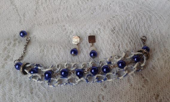 Bracelete E Brincos Em Pérolas E Cristais