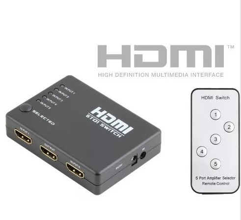 Hdmi Switch Selector 5 Entradas Full Hd 1080p Control Remoto