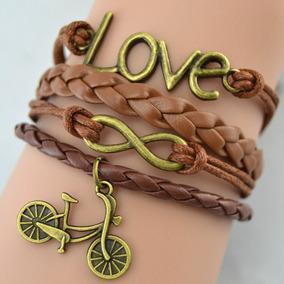 Pulseira Feminina Masculina Bicicleta Infinito Love Marrom