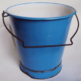 Balde Antigo Alemão Em Ferro Esmaltado Ou Louça Ágata Azul