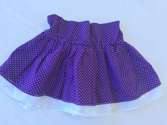 Saia Infantil Com Anágua Cor Púrpura Com Poás Brancos Tam.g