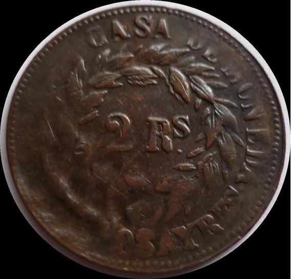 Argentina Buenos Aires-2 Reales 1860 A5-r6 Excelente +