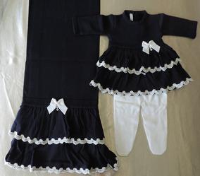 Saída De Maternidade Petit Mouton Vestido Com 2 Babados