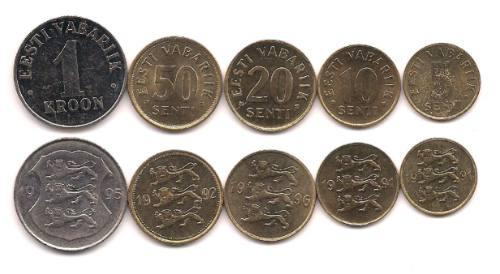 Serie De 5 Monedas De Estonia Año 1991/6 Sin Circular