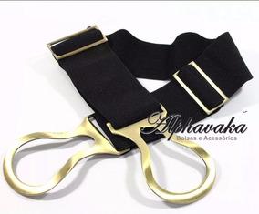 Cinto Feminino Elástico Preto Fivela Dourada Plus Size