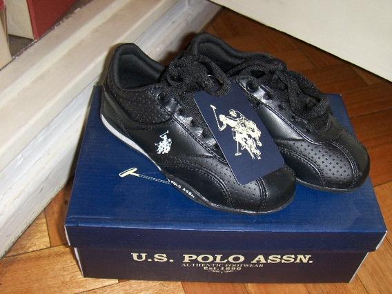 Zapatillas U.s. Polo De Cuero Negras Size 11 Nuevas! Unisex.