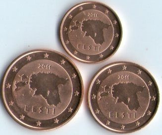 Spg Estonia 1 + 2 + 5 Eurocent 2011 ( Lote De 3 Monedas )