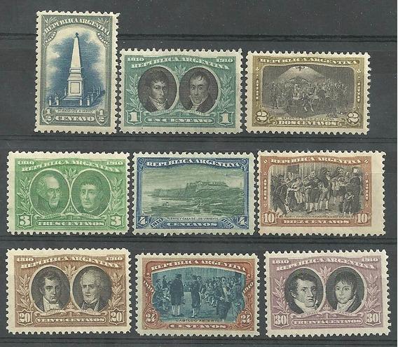 9 Estampillas Centenario 1810 Año 1910 Nuevas Sin Bisagra