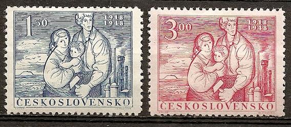 Checoslovaquia Serie Año 1948 Yvert 482/3 Nuevas Con Bisagra
