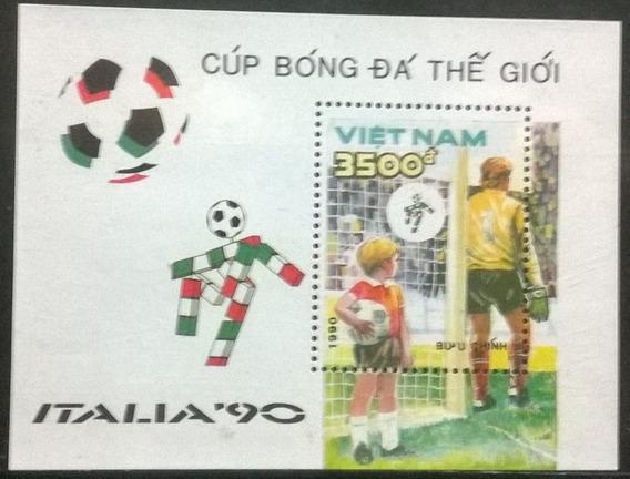 C@- Futbol - Vietnam - Mundial Italia 90 - Block Mint -