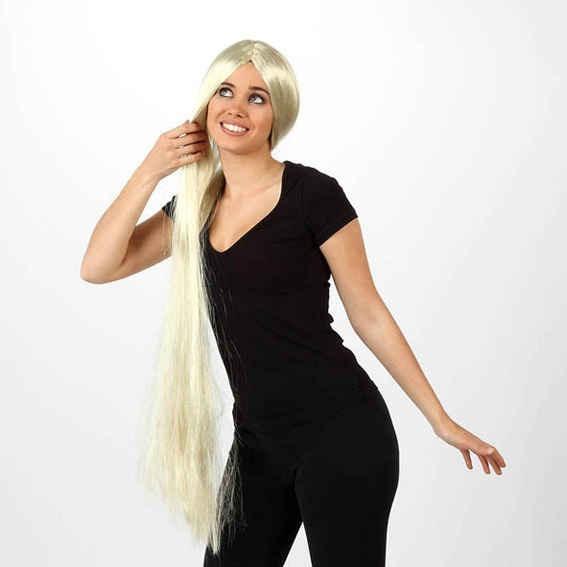 Disfraz Peluca Extra Largo Rubia Para Rapunzel Enredados