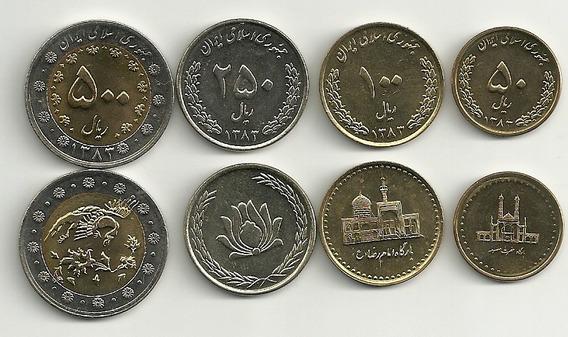 Serie De 4 Monedas De Iran Año 2004 Bimetalica Sin Circular