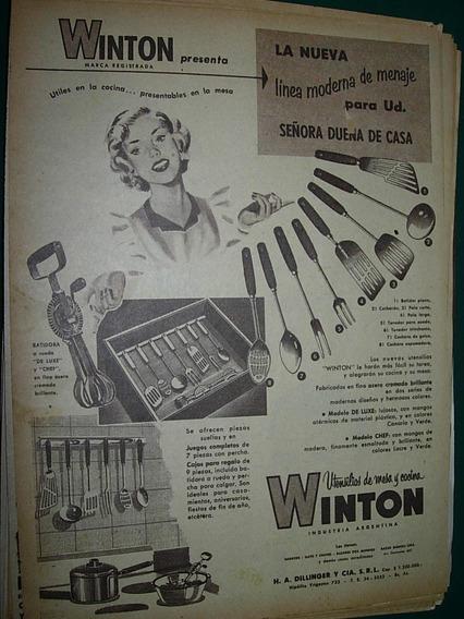 Publicidad Vintage Clipping Utensilios De Cocina Mesa Winton