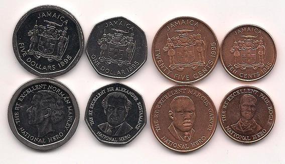 Serie De 4 Monedas De Jamaica Año 1995 Sin Circular