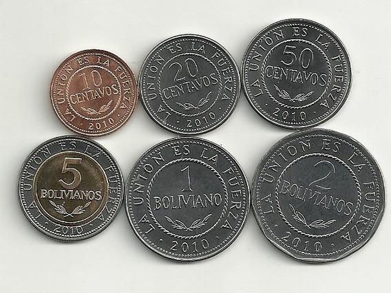 Nueva Serie De 6 Monedas Bolivia Año 2010 Bimetalica