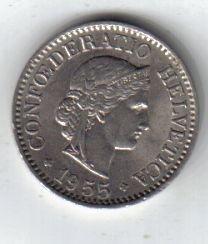 Suiza Moneda De 10 Rappen Año 1955 !!!!!!!!!