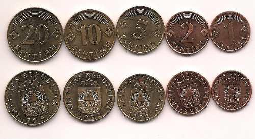 Serie De 5 Monedas De Letonia Año 1992/00 Sin Circular
