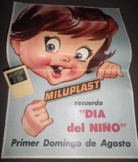 Cartel Antiguo Juguetes Miluplast + Broche Papel Publicidad