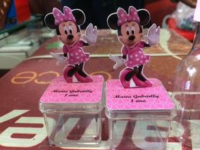 10 Caixinha Acrilico 3d Minnie Rosa Ou Vermelha