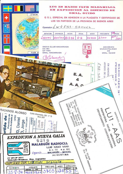 2 Tarjetas Qsl Radioaficionado Antiguas Vintage Radio Retro