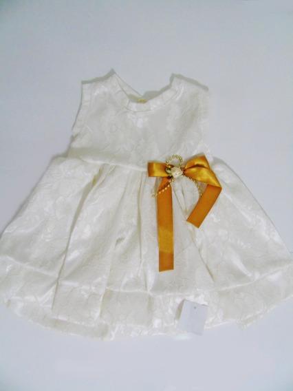 Vestido Festa Bebe Marfim Laco Pronta Entrega Lojadafefinha