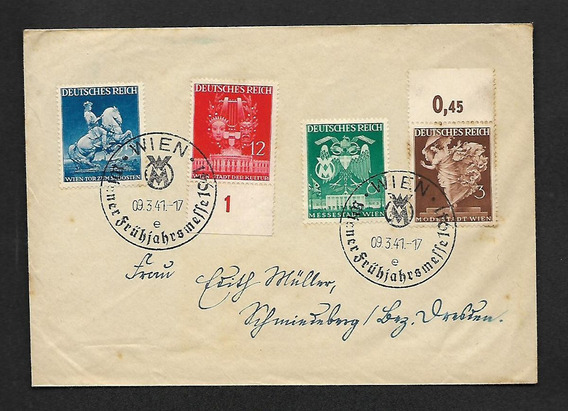 Alemanha-carta Com Serie Completa Mi.768/771 Datada 1941