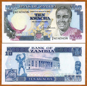 Zâmbia 10 Kwacha 1989 P. 31b Fe Cédula - Tchequito