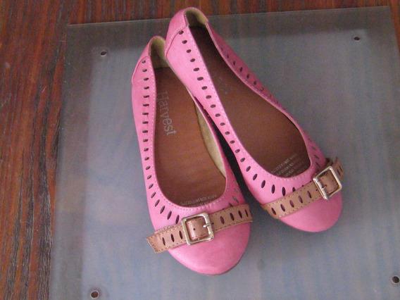 Lindo Zapato Tipo Ballerina, Rosado Con Marron, Talla 33