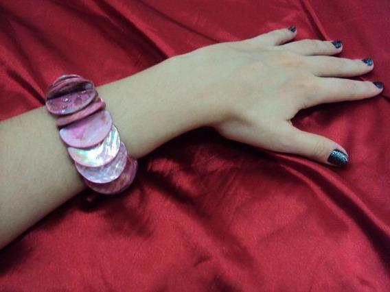 Pulseira Bracelete Madrepérolas Rosas Formato Escamas