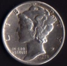Moeda Rara Estados Unidos -eua- Mercúrio Dime- Prata
