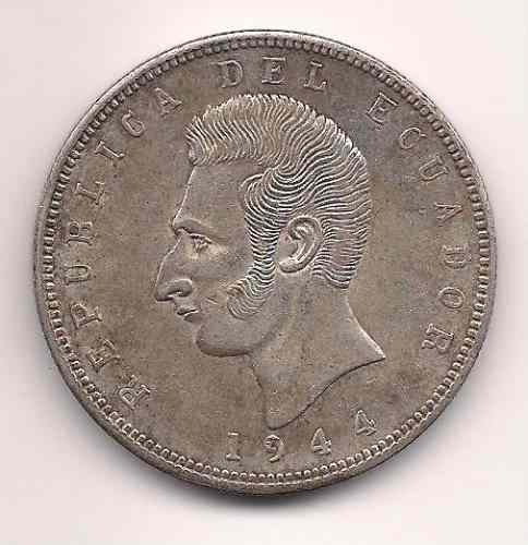 Moneda De Ecuador De Plata 5 Sucres Año 1944 Tamaño Grande