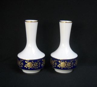 Florero Bavaria Antiguo Par Estilo Sevres Azul Cobalto Y Oro