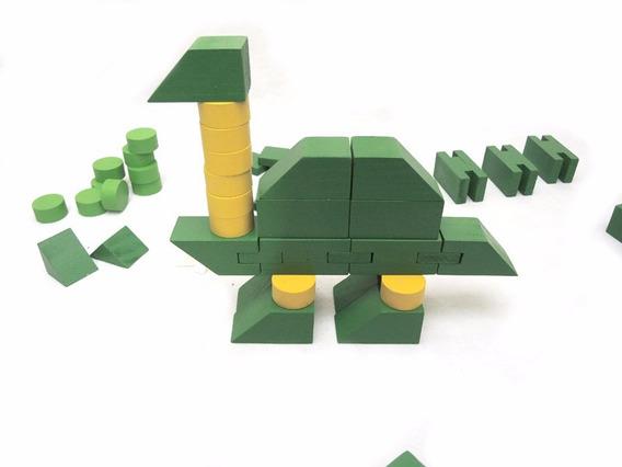 Bloco Dinossauro Educativo Pedagogico Lego Brinquedo