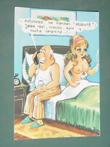 Postal Caricatura Humor Dibujos Picaresca Urgente Coramina