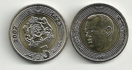 Moneda Marruecos Año 2002 Bimetalica 5 Dirham Sin Circular