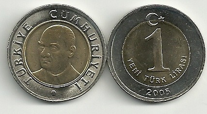 Moneda Turquia Año 2005 Bimetalica 1 Lira Nueva Sin Circular