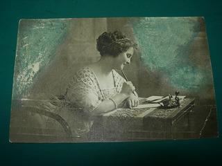 Postal Antigua Señorita Escribiendo Carta Tintero Pluma