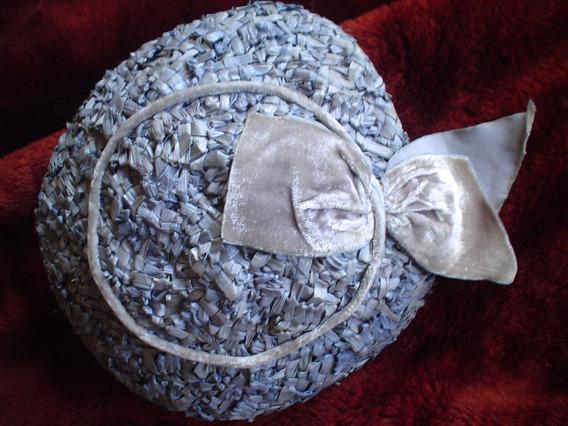 Retro Vintage Sombrero -boina En Rafia Con Adornos Terciopel