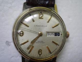 Antiguo Reloj Caravelle Suizo 33 Anda Tressa Omega Plake Oro
