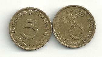 Moneda Alemania Reich 5 Pfennig Con Esvastica Año 1937/39