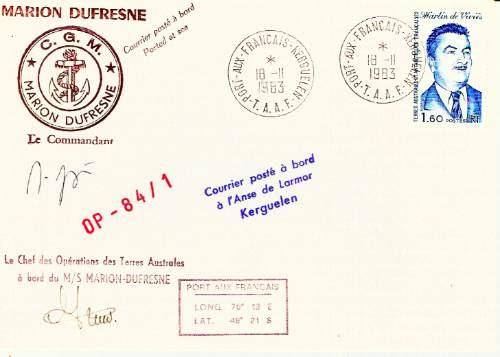 C@- Antartida - Francia - Matesellado Buque Marion Dufresne