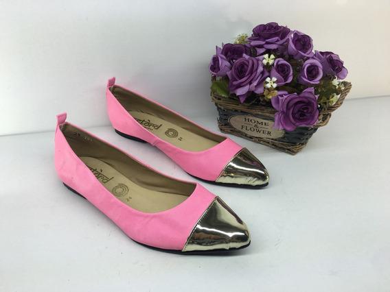Zapato Flat Fashion Rosa Neon