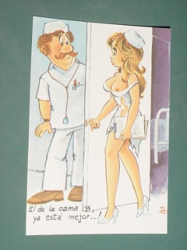 Postal Caricatura Humor Dibujos Picaresca Sexy Enfermera 14